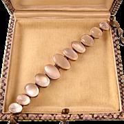 "Antique 9ct Gold Moonstone Bracelet, Eleven Stones, 7-1/2"" Sizable"