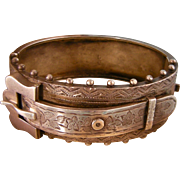 Antique Victorian Engraved Bangle Bracelet with Buckle and Beading, Sterling Silver, 1884-85