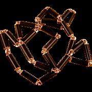 Antique Victorian 14k Rose Gold and Black Enamel Necklace, Stunning