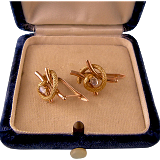 Antique Victorian 14k Rose Gold and Yellow Gold  Moonstone Snake Earrings for Pierced Ears