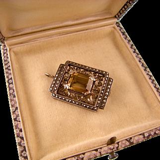 Fine Art Deco Citrine and Marcasite Pendant Brooch, Sterling Silver