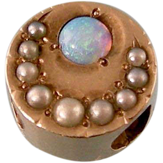 Antique Victorian 14k Gold Slide with Opal and Seed Pearls, Moon and Sun