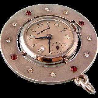 Retro Deco Pennino Watch Pendant with Bright Pastes, 1940s, in Sterling Silver