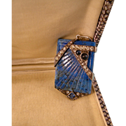 French Art Deco Lapis Glass and Paste Pendant in Silver