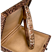 "Art Deco Clear Paste Bangle Bracelet, Slip On, Sterling Silver, 1/4"" Wide"