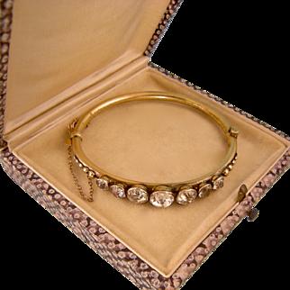 Gorgeous Antique Victorian Bracelet with Seven Brilliant Raised Pastes, Small Wrist