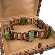 Art Deco Amazonite and Marcasite Bracelet in Sterling Silver, Very Fine