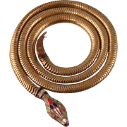 Art Deco Snake Necklace with Colorful Enameled Head, c1930