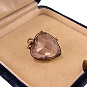 Antique Amethyst Heart Locket, Double-sided, Gold-Washed Silver