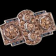 Art Deco Dazzling Paste Brooch, Faux Diamonds and Sapphires, 935 Silver, WB Pforzheim, Germany