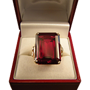 Spectacular Ruby Ring, 10k Gold, Huge Stone, Size 7-1/2