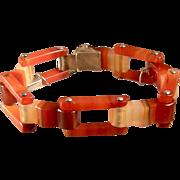 "Antique Victorian Agate Link Bracelet, 6-3/4"""