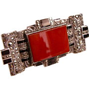 Striking Art Deco Carnelian, Enamel, and Marcasite Brooch, Sterling, Germany