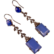 """Antique Blue Chalcedony Earrings with Marcasites in Sterling, 2-1/4"""""""
