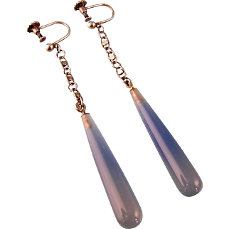 Antique Blue Chalcedony Very Long Earrings on Fancy Chains, Silver 935