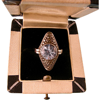 Theodor Fahrner Dazzling Blue Spinel Ring with Marcasites, 1930s