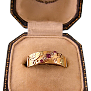 18ct Antique Victorian Ring with Rubies and Diamonds, in Rose and Yellow Gold, 1897