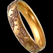 """Art Nouveau Hinged Bangle Bracelet with Paste Decorations, Great Design, 7"""""""