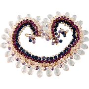 Dazzling Handcrafted Crystal Beads Necklace in Clear, Purple, and Sapphire Blue, Small Size