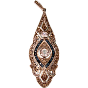 Exquisite Art Deco Pendant with Diamond and Sapphire Pastes, 935 Silver, Germany