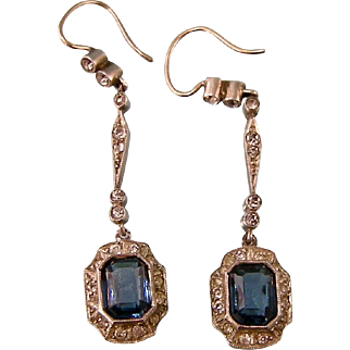 Petite Sapphire and Diamond Paste Sterling Silver Earrings, c1915, for Pierced Ears