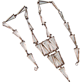 """Amazing Art Deco Glass Triangles Necklace in Sterling Silver, 33"""" Long"""