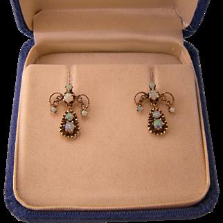 Opulent 14K Gold Dangling Opal Earrings