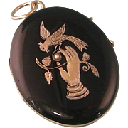 Antique 14k Victorian Locket in Black Enamel with Gold Hand, Bird, and Branch, and Seed Pearl