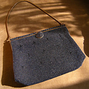 Charcoal Beaded '50s-'60s Purse with Pretty Clasp~ Great Condition