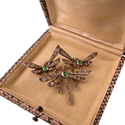 Victorian Triple Dragonflies Brooch with Pastes in Sterling Silver
