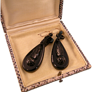 """Victorian Whitby Jet Earrings, Large, 2-1/2"""""""