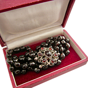 """Antique Three-Strand Garnet Bracelet with a Fancy Cluster Clasp, 8"""""""