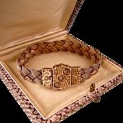 Edwardian Woven Mesh Bracelet with Ornate Clasp