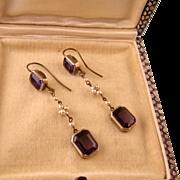Edwardian Amethyst Paste and Faux Pearl Dangle Earrings