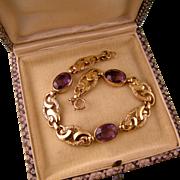 Antique Amethyst Paste and Fancy Link Bracelet, Victorian Revival