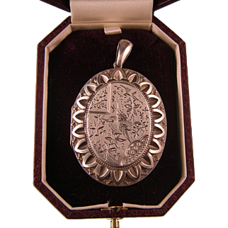 Antique Victorian Silver Locket with Bird, Ornate Engravings, Grand Size, 1880s