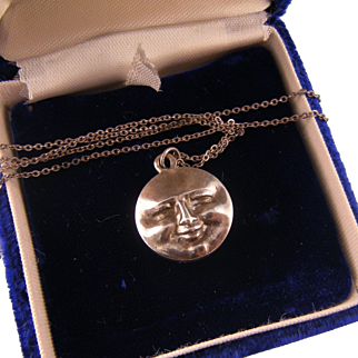 Antique Two-Faced Moon Pendant Fob, Silver, Hallmarked