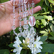 Vintage Rock Crystal Large Bead Necklace, Long and Sparkling