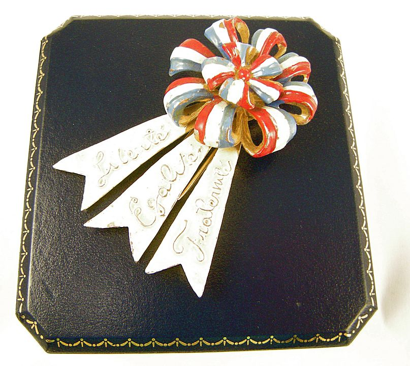 WW2 Enamel Clip, French Revolution motto: Liberte, Egalite, Fraternite, Collectible Book Piece