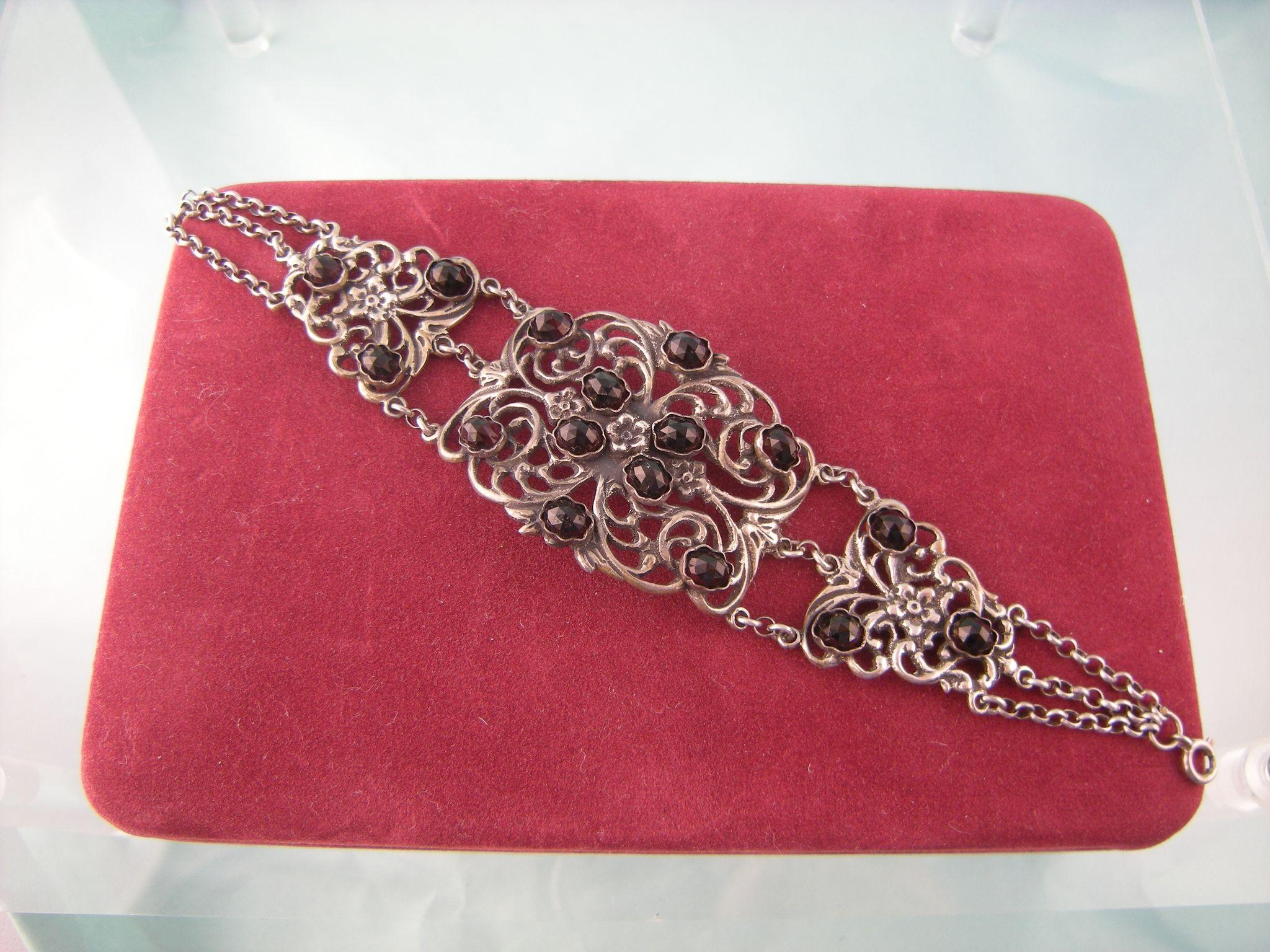 Antique Victorian Sterling Silver Openwork Bracelet With Sixteen Garnets, Very Wide, with Chains