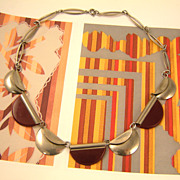 Authentic Jakob Bengel Necklace in Maroon Galalith and Chrome
