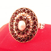 Gorgeous Austro-Hungarian Garnet and Pearl Ring