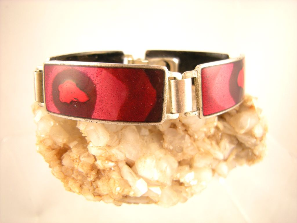 Modern German Enameled Bracelet, Unmarked Perli