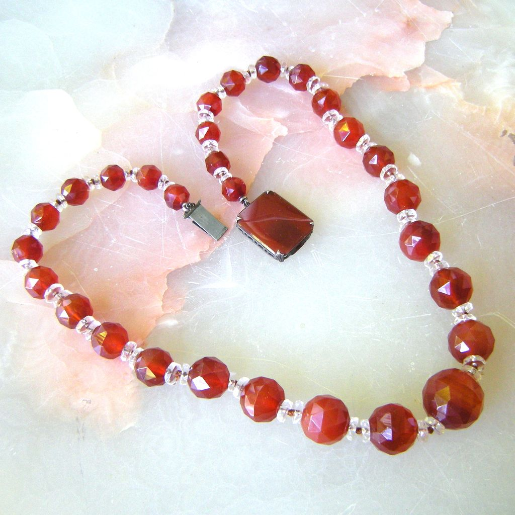 Art Deco Carnelian Bead Necklace with Sterling Carnelian Clasp