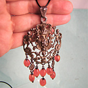 Rare Gold-Washed Sterling Peruzzi Pendant with Carnelian Beads