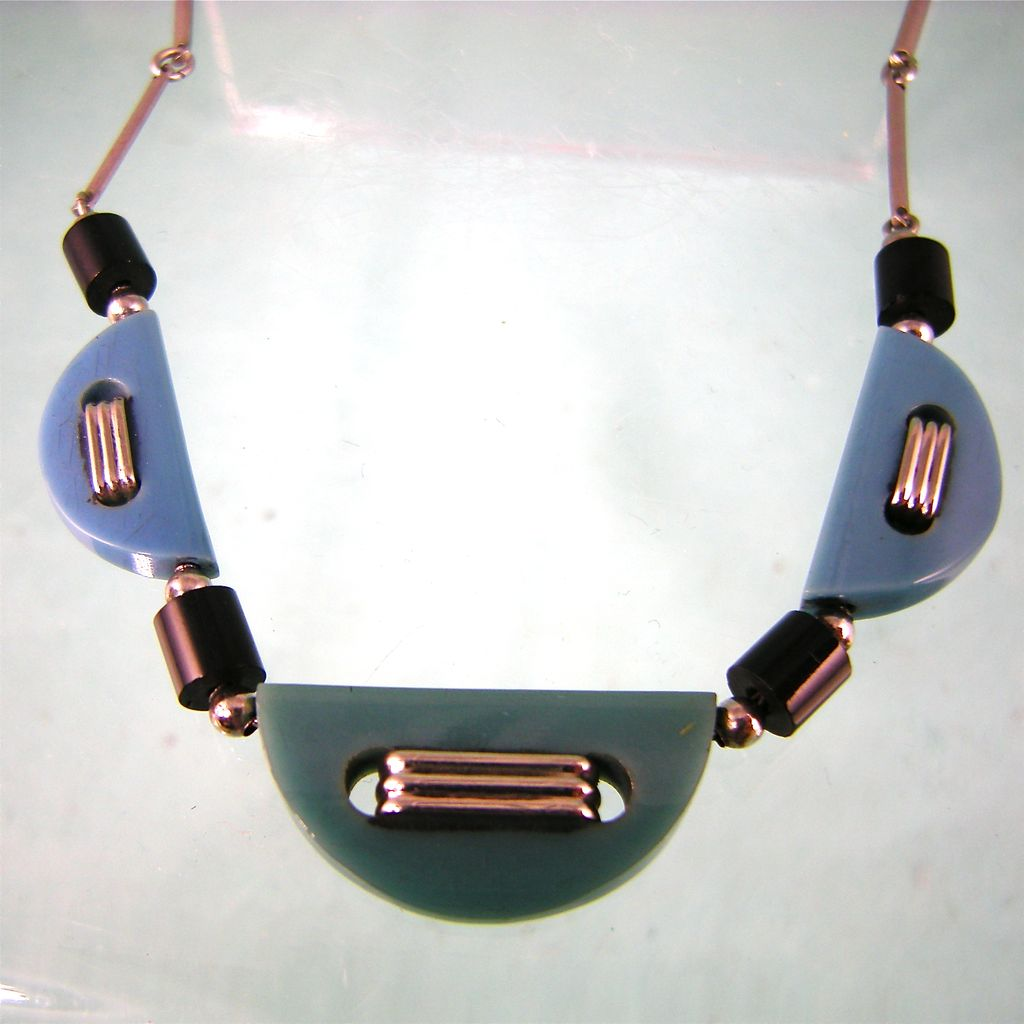 Slender Jakob Bengel Galalith and Chrome Necklace in Teal and Green