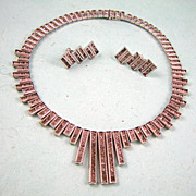 Fabulous! Very Art Deco Rhinestone Necklace and Earrings Set