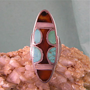 Very Tall Native American Ring, Striking Design!