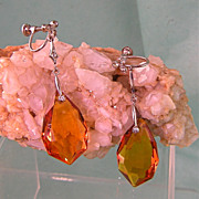 Long Czech Art Deco Amber Glass Earrings with Pastes