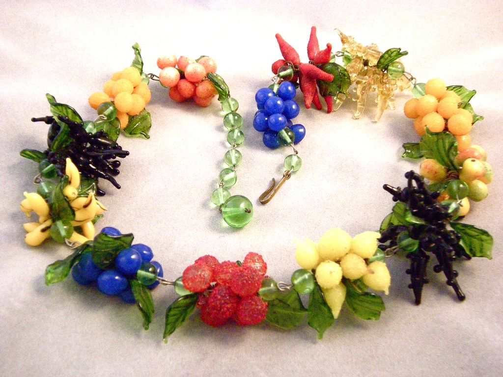 Fantastic! Italian Glass Fruit Necklace and Earrings, 1930s